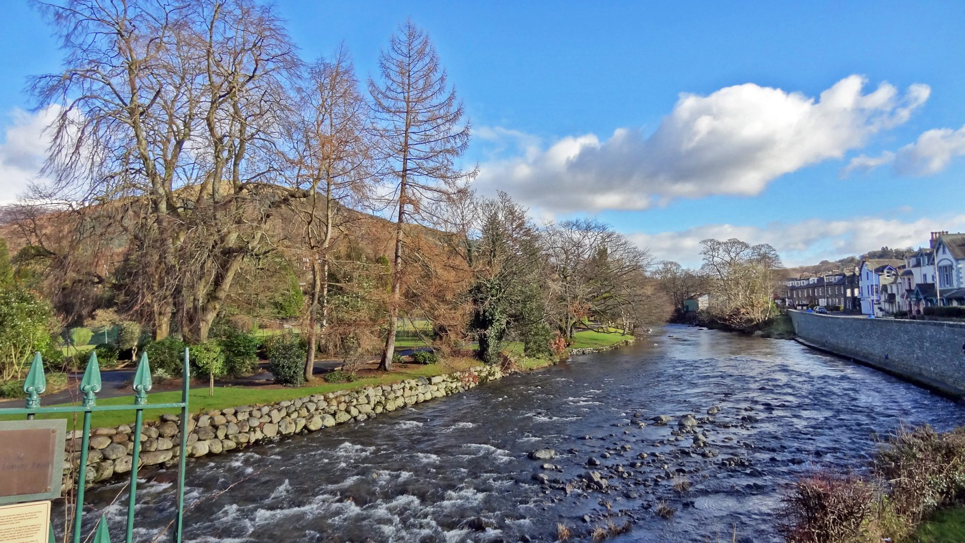 the River Greta in Fitz Park, with Penrith Road on the right